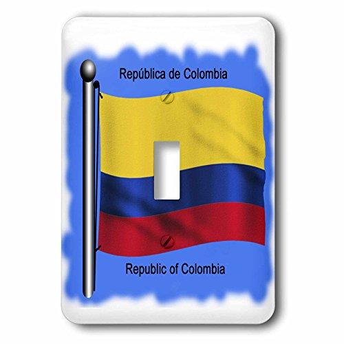 3Drose Llc Lsp 51748 1 Colombian Flag Waving On A Flagpole On A Blue Background Republic Of Colombia Single Toggle Switch