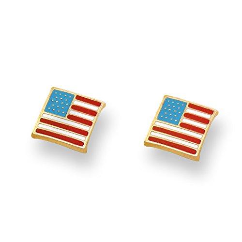 14K Yellow Gold Enameled American Flag Stud Earrings With Safety Screw Backs (14k Gold Enamel American Flag)