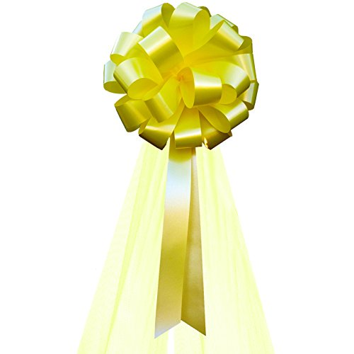 Yellow Wedding Pull Bows with Tulle Tails - 8