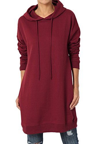 TheMogan Women's Hoodie Loose Fit Pocket Tunic Sweatshirts Burgundy L/XL