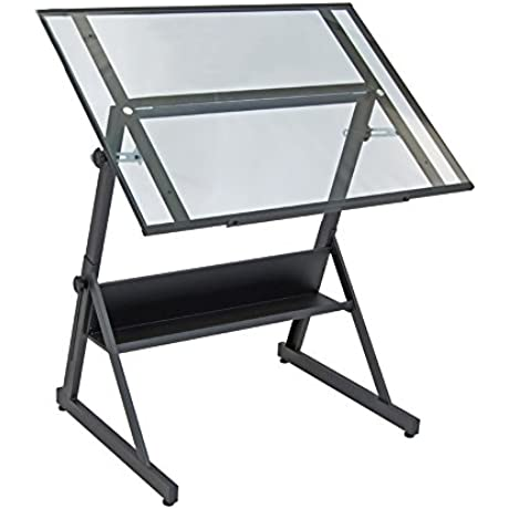 Offex Home Solano Adjustable Drafting Table Charcoal Clear Glass