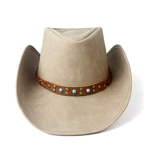 VAXT Take Women Men Westerly Cowboy Hat With Punk Band Leather Sombrero Cowgirl Hat