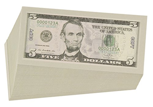 Play Money - $5 Five Dollar Bills Pretend Play Money Set Realistic Double  Sided Prop Money, 100 Count, 5 x 2 5 inches