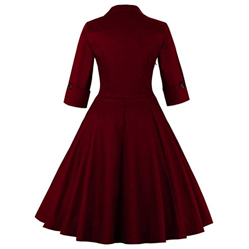 4XL Rose 50er M1323 Retro EU Damen Wein 48 Kleid Cocktail Rote DISSA Rockabilly Vintage FPwUSqcC