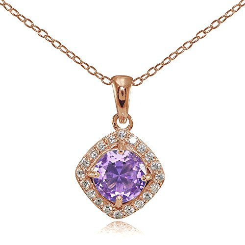 Rose Gold Flashed Sterling Silver Simulated Amethyst 7mm Round and CZ Accents Necklace