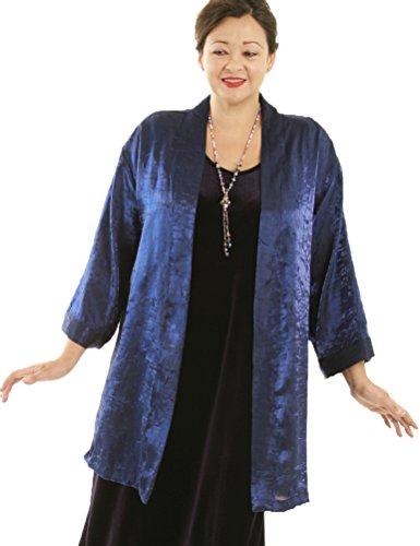 Peggy Lutz Plus Women's Tunic Length Kimono Sapphire Blue Crinkle Crash - {18/20)