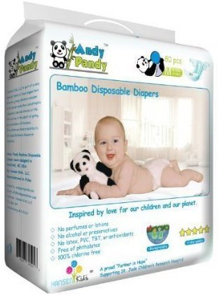 Eco Friendly Premium Bamboo Disposable Diapers by Andy Pandy - Medium - For Babies Weighing 13-22 lbs - 80 count