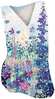 Eoeth Tops for Fashion Women Casual Floral Print V-Neck Sleeveless Vest T-Shirt Blouse Tops