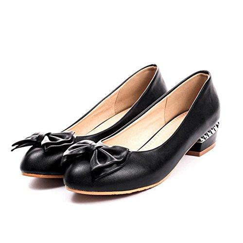 Rond Chaussures AllhqFashion Noir Talon Tire Légeres Couleur Femme Bas Unie à 7cwxqw80pa