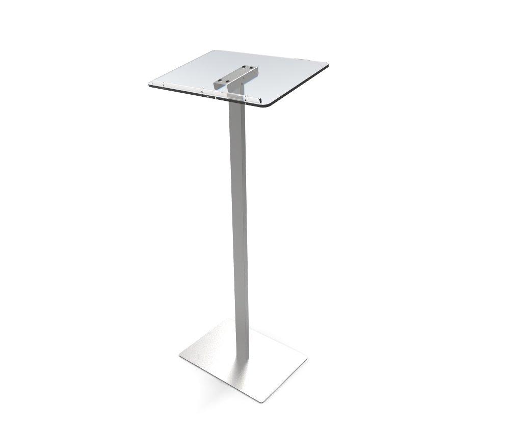 Clear /& Silver 119741-NF FixtureDisplays Acrylic Podium for Floor Aluminum Pole /& Base
