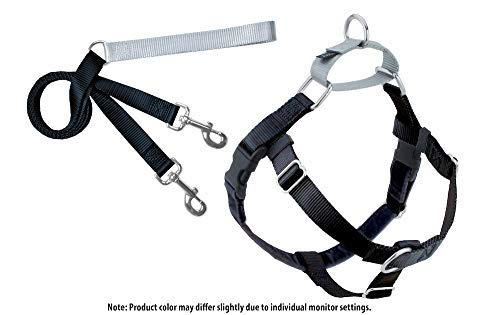 2 Hounds Design Freedom No-Pull Dog Harness and Leash, Adjustable Comfortable Control for Dog Walking, Made in USA (Small 5/8'') (Black)