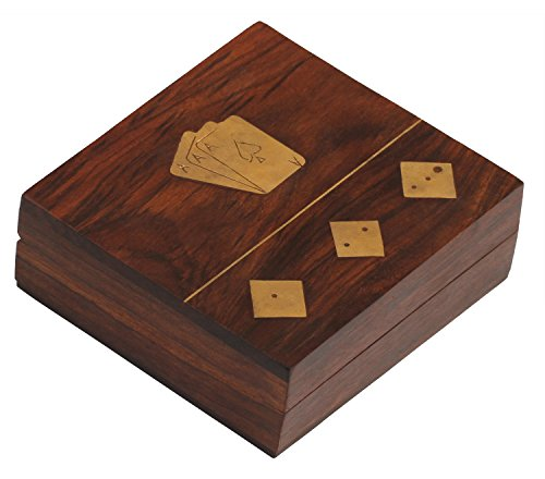 One Day SALE - SouvNear Dice and Playing Card Wooden Storage Box Including 5 Wooden Dices – Handmade Rosewood 4.6