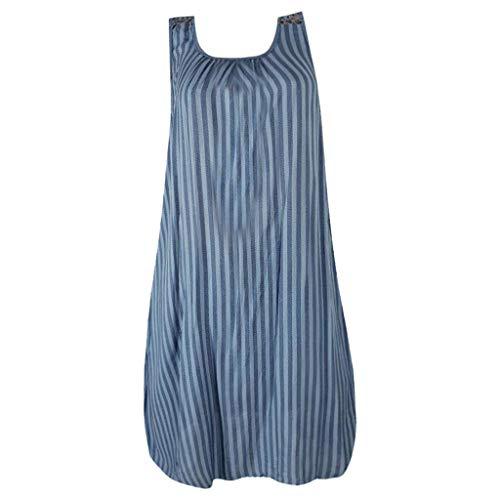 - Claystyle Women Boho Printed Striped Long Maxi Dress Evening Party Beach Dresses Sundress Blue 4XL