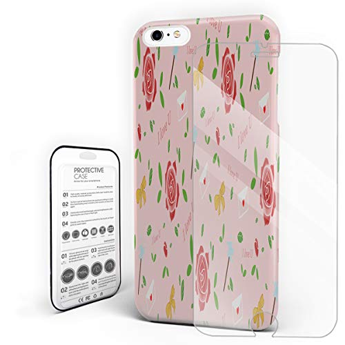 - Romantic Rose Envelopes and Bows Phone Case for iPhone 6 Plus/iPhone 6S Plus Stylish Design Slim Anti-Fall Hard Plastic Phone Cover with Tempered Gglass Screen Protector