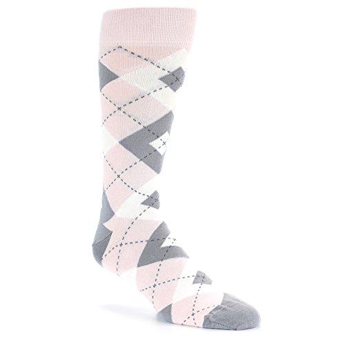 Statement Sockwear Argyle Groomsmen Wedding Socks (Petal Pink / Grey)