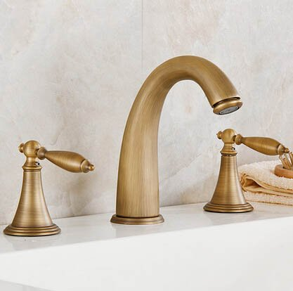 Senlesen Deck Mounted Three Holes Double Handles Widespread Bathroom Sink Faucet, Antique Brass Finished