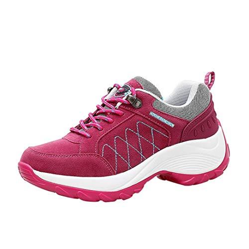 OYSOHE Damen Laufschuhe,Mattes Leder Gemischte Farben Dicker Boden Sport Plattform Schuhe Turnschuhe Heiß Rosa