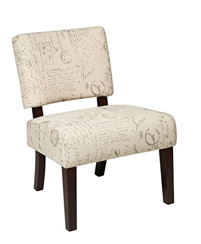 AVE SIX Jasmine Accent Chair with Espresso Finish Solid Wood Legs, Cream Script