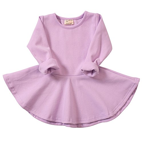 Infant Toddler Baby Girls Dress Cozy Ruffles Long Sleeves Cotton (3-4Year(4T), Purple) ()