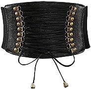 Womens PU Leather Belt High Waist Cincher Belt Corsets for Waist Training Wide Belt