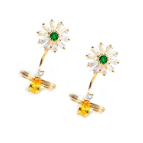 I'S ISAACSONG Hypoallergenic Flower Stud Earrings, 925 Sterling Silver Cubic Zirconia Crystal Charm Ear Studs for Women and Girls – Daisy, Cherry, Lotus, Rose (Daisy & Bee Earrings)