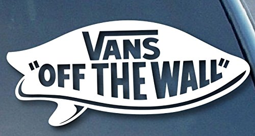 """VAN OFF THE WALL SURF BOARD LOGO VINYL STICKERS SYMBOL 5.5"""" DECORATIVE DIE CUT DECAL FOR CARS TABLETS LAPTOPS SKATEBOARD - WHITE"""