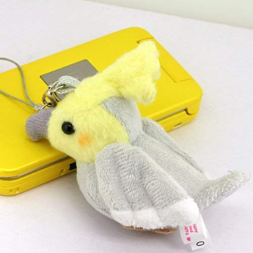 Bird Plush Doll Cell Phone Charm (Cockatiel/Gray)