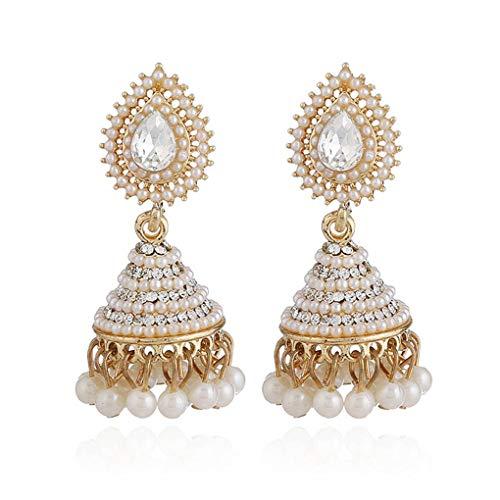 daindyzzq 1 Pair Retro Indian Bell Earrings Pearl Crystal Pendant Drop Ear Stud Women Girls Wedding Dangle Party - Wedding Dangle Bell