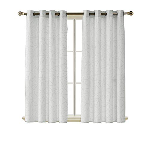 Deconovo Grommet Top Window Curtain Soft Fabric Embossed Triangle Pattern Room Darkening Curtains Window Treatment Drapries for Bedroom 52W x 63L Inch White 2 Panels For Sale