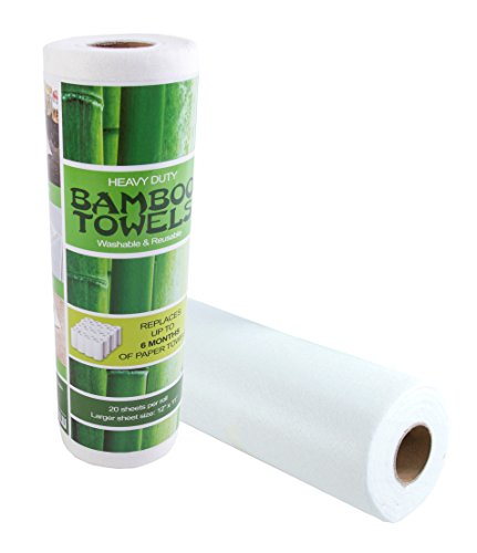 Bamboo Towels - Heavy Duty Eco Friendly Machine Washable Reusable Bamboo Towels - One roll replaces 6 months of towels! (Bamboo 1)