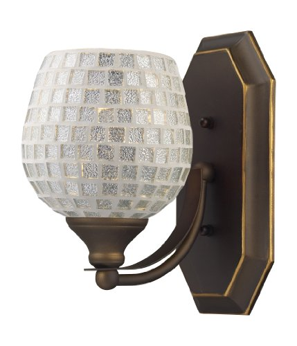 Elk 1 Light Vanity (Elk 570-1B-SLV 1-Light Vanity In Aged Bronze and Silver Mosaic Glass)