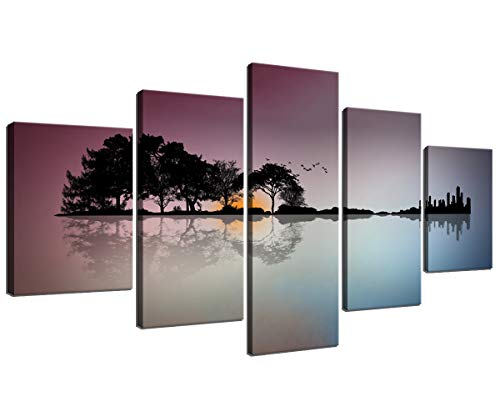 Guitar Canvas Wall Art Decor for Bedroom Abstract Trees City Artwork HD Prints Home Decor for Living Room Modern Still Life Pictures 5 Panel Large Posters Framed Ready to Hang (60