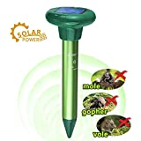 LOMEREY 4 Pack Solar Sonic Mole Repeller Gopher Repellent Ultrasonic Mole Spike Vole Chaser Rodent Repellant Ultrasonic Pest Deterrent Get Rid of Moles in Your Lawn Garden Yard (1, Light Green)