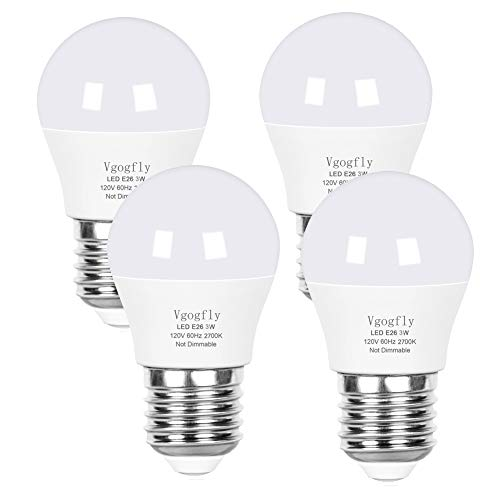 LED Bulb 3W 25 Watt Equivalent Light Bulbs Night Stand Bulb Table Lamp Bulb Warm White 2700K LED Energy Saving E26 Medium Screw Base for Home Light Bulb 4 Pack
