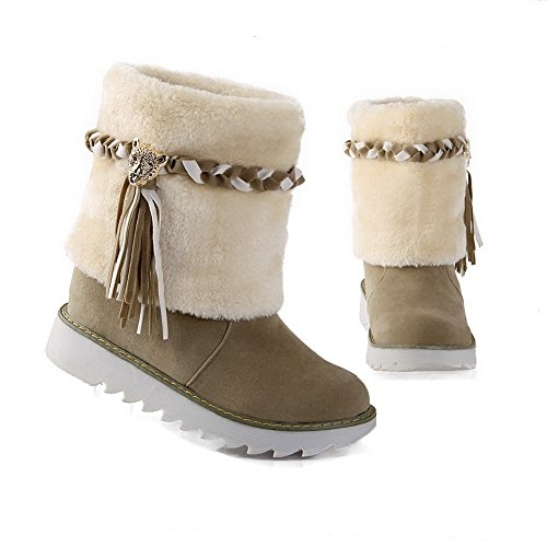 Riband AdeeSu Beige Frosted Platform Boots Tassels Girls Pxxaq4