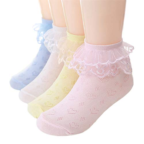 (DoMii Girls Ankle Socks Lace Eyelet Frilly Socks with Heart Knit Princess Dress Socks 4-Pack)