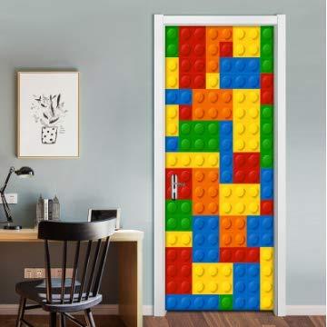 YOYODECOR Stickers de Porte Couleur Lego Blocs Enfants Chambre Chambre Porte D/écoration Autocollants Creative DIY Autocollant Mural Mur Papier Peint pour Chambre denfant