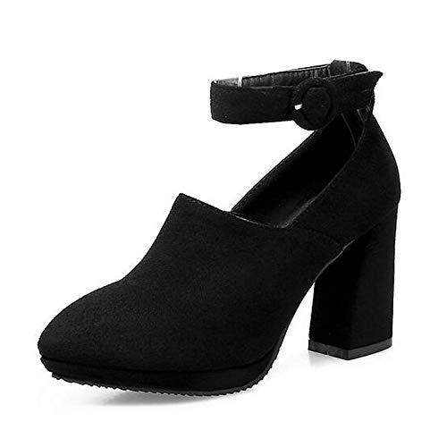 ZHZNVX Zapatos de Mujer Suede Spring Comfort Heels Chunky Heel Amarillo/Rojo / Almendra Yellow