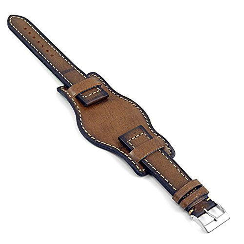 DASSARI Analogue Hand Finished Vintage Style Italian Leather Bund Watch Strap in Brown 24mm (Vintage Style Italian)