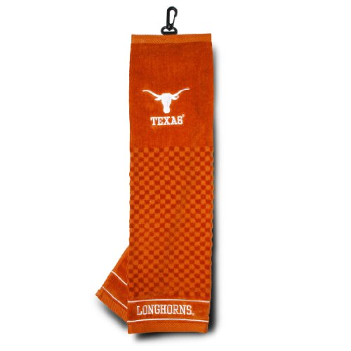 Team Golf NCAA Texas Longhorns Embroidered Golf Towel, Checkered Scrubber Design, Embroidered Logo