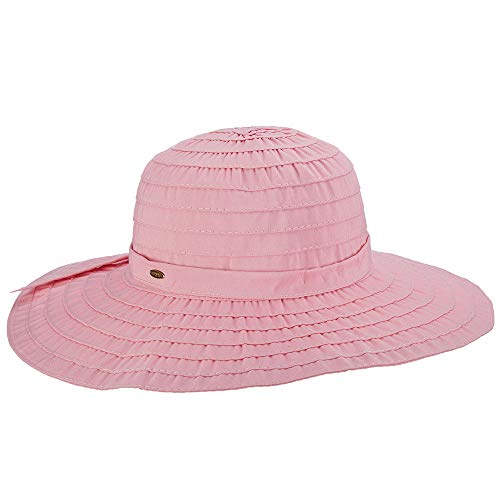 SCALA Women's Sewn Ribbon Crusher Hat, Pink, One - Apparel Pink Ribbon