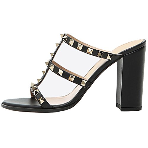 Comfity Mules for Women,Rivets Slippers Rockstudded Block Heels Hollow Out Slingback Sandals Black-heels