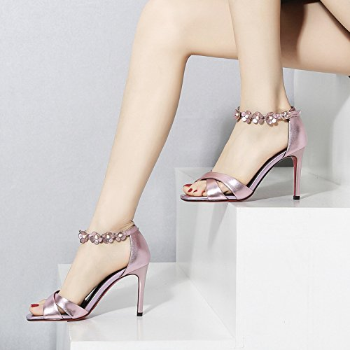 Flores y Transpirable Moda boca ocho de Sandalias AJUNR Pink La La Zapatos altos 9cm pescado elegante de mujer Treinta 39 tacones tacones Finos O4EKRRxwqd
