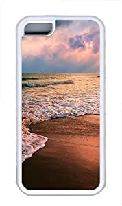 iPhone 5C Case and Cover -Shore waves TPU Silicone Rubber Case Cover for iPhone 5C ¨CWhite