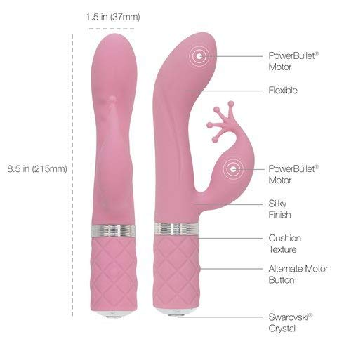 Pillow Talk Kinky Silicone Dual Massager USB Rechargeable with Swarovski Crystal Pink 8.6 Inch
