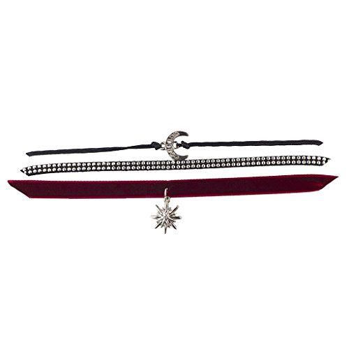 Lux Accessories Silvertone Black Red Moon Star Studded Velvet Choker Set 3PC