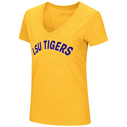 Colosseum Womens NCAA-Valuable Commodity-Dual Blend Short Sleeve T-Shirt-LSU Tigers-Gold-Large - Lsu Tigers Womens T-shirt