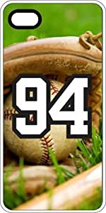 Baseball Sports Fan Player Number 94 White Rubber Decorative iPhone 5/5s Case