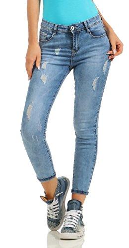 Fashion4Young - Salopette - Femme Bleu noir XS=36 10343-blau