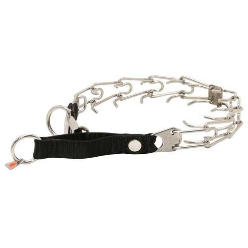 Herm Sprenger 50026 10 (55) Stainless Steel Cane Corso Pinch Collar with Click Lock Buckle and Nylon Loop 1/8 inch (3.2 mm) - Size 21 inch (52 cm)